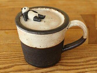 ※ 受注制作 おくつろぎパンダ 蓋付マグカップの画像