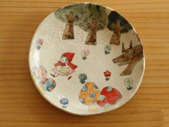 ※受注生産 粉引き赤ずきんちゃんのケーキ皿。の画像