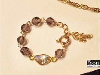 K18ダイヤモンド原石カフェモカ&オブシディアン アジャスターチェーンリング兼Yペンダントの画像