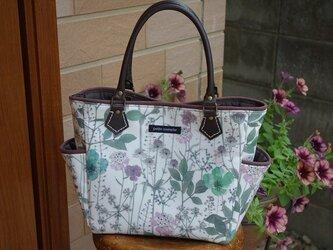 サイドポケットバッグS(リバティラミネート:イルマ<グリーン&パープル  >  )の画像