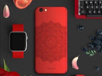 ★Mandala★【全面保護強化ガラスフィルム付き】iPhone ケース iPhone全機種対応 スマホケース 赤の画像