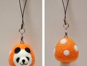 羊毛フェルトキノコパンダのストラップ(オレンジ)の画像