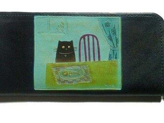 catwalk oikawa 猫のデザイン レザークラフト ロング財布 テーブル猫の画像