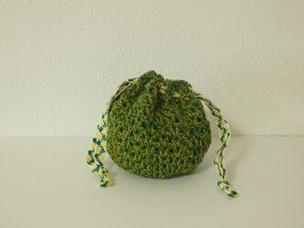 コロンと小さな編み巾着 草の色の画像
