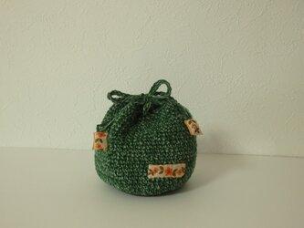 コロンと小さな編み巾着 サラッとリネンの画像