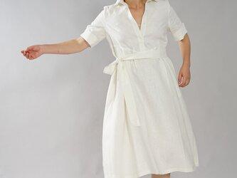 【wafu】中厚 リネン ワンピース シャツドレス 5分袖 タックスカート スリット袖 / ホワイト a064b-wht2の画像