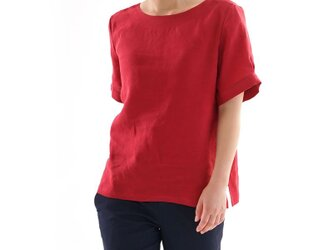 【wafu】薄地 雅亜麻 リネン ブラウス 2WAY 袖タック トップス  / 紅色(べにいろ)t022a-bne1の画像