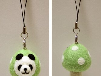 羊毛フェルトキノコパンダのストラップ(黄緑)の画像