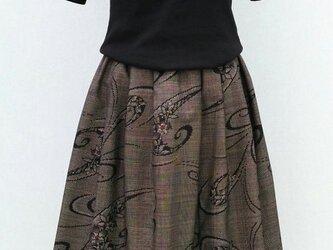 泥大島紬のリメイクスカート の画像