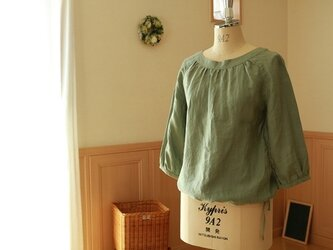 スモックブラウス(Mサイズ・七分袖)/リネン(セージグリーン)の画像