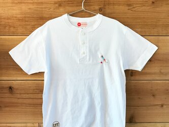 ボウリング 刺繍 ヘンリーネックTシャツの画像