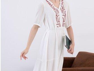 【3サイズ展開】刺繍入りシンプルなロングワンピース♪の画像