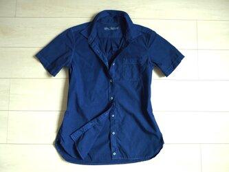 ◆100%自然素材 天然灰汁発酵建て 本藍染◆ オーガニックコットン ブロード半袖シャツ(レディース)の画像