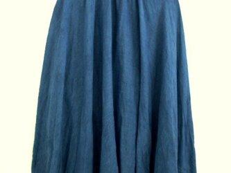 ◆100%自然素材 天然灰汁発酵建て 本藍染◆ 麻&コットンのロングフレアスカートの画像