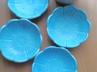 お花のまめ皿 ターコイズブルーの画像