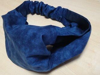 浴衣姿にぴったり♪エレガントなヘアバンド ムラ染め 紺色の画像
