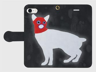オリジナル手帳型スマホケース【目出し帽の猫】【受注製作:iPhone/Android】の画像
