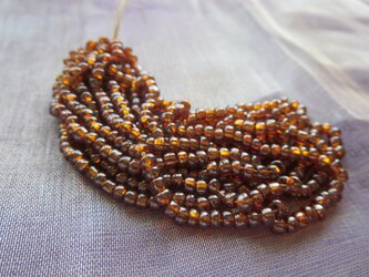 *♥*Japanese Vintage Seed Beads Dark Amber Luster*♥*の画像