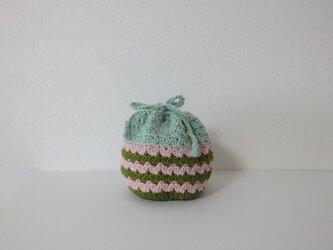 コロンと小さな編み巾着 ボーダーの画像