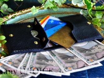 イタリアンオイルレザーアリゾナ・コンパクト2つ折り財布(黒)の画像