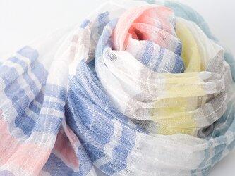 手織りリネンストール【涼風*01】の画像