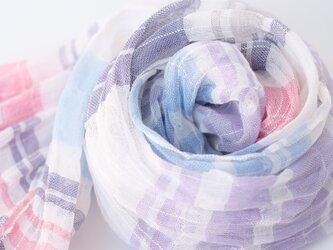 手織りリネンストール【涼風*04】の画像