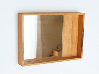 木製 箱鏡 桜材8 ミラーの画像