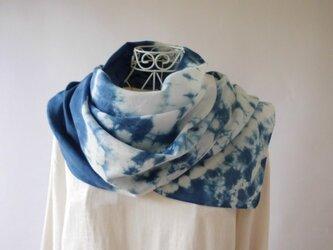 B_(花火)なめらかリネン・天然藍/絞り染め・大判ロングストールの画像