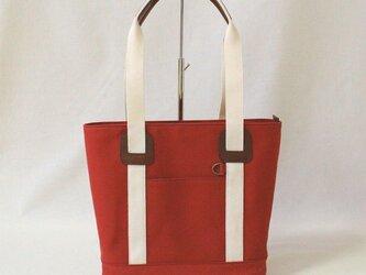 倉敷8号帆布のシンプルトートバッグ(キャロットレッド)の画像
