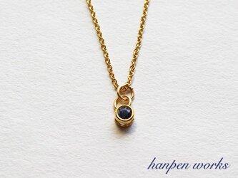 14kgf 宝石質 アイオライト ベゼル プチ デザイン ネックレスの画像