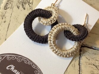 Boucles d'oreilles deux ronds チャコールグレー×ゴールドの画像