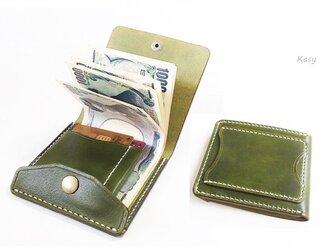 【右開口カードポケット3 】薄型シンプル札ばさみ MC-10-1 マネークリップ サイドガード付 オリーブの画像