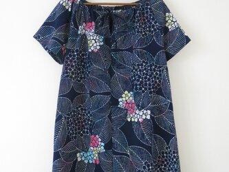 紺紫陽花浴衣のチュニックワンピースの画像