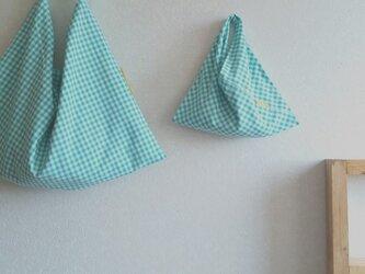 再販 ワンハンドルbag &ちょこっと袋 greenギンガム の画像