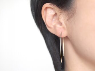 14KGF Square Wire Earrings / Curveの画像