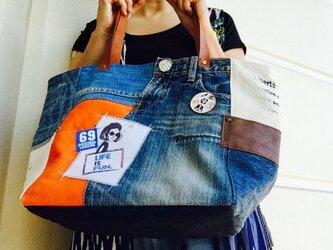 送料無料コラボ☆デニム&倉敷8号帆布トートバッグ Mプラスサイズ  girl♡茶革#02の画像