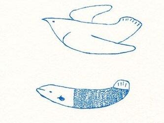ガリ版ポストカード2枚セット 鳥と魚の画像