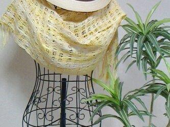 おしゃれな手織り 幸せの黄色いストールの画像