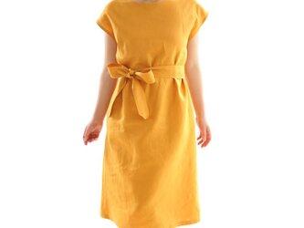 【wafu】中厚 リネン ワンピース フレンチスリーブ ビックT ドレス ベルト付き/インディアンイエロー a041b-iye2の画像
