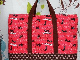黒猫のピアノバッグ 赤色の画像