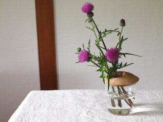 木とガラスの花入れ 一輪挿し ブナ材の画像