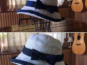 受注制作:心を込めて作ります!素朴で被り心地のいい、リネンのくったり帽子・2色の画像