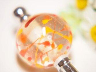 水風船模様とんぼ玉のかんざし 透明×暖色系の画像