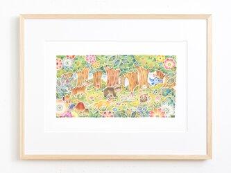 """絵のある暮らし。大きな額装アートプリント """"みんなでおさんぽ、花咲く森で"""" FAP-A3N323 送料無料の画像"""