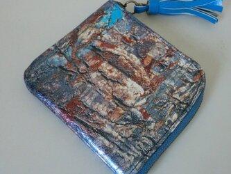 箔入り油絵風 ウオレット 革の画像