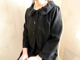 冠婚葬祭●フォーマル2点セット●ギャザー襟ジャケット+袖付きAライン●5号~31号トールサイズOKの画像