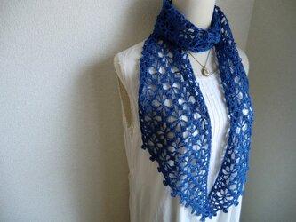 リネン 麻 花模様のストール(ブルー)の画像