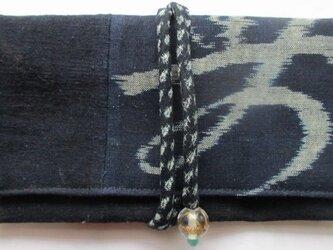 送料無料 筒掛けと絵絣で作った和風財布・ポーチ 2655の画像