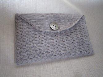 ブルーグレーかぎ針編み小物入れ(通帳入れ)の画像