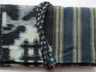 送料無料 絣と唐桟縞の着物で作った和風財布・ポーチ 2658の画像